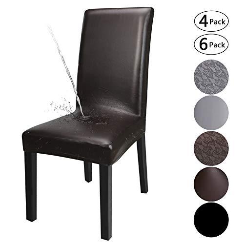 YISUN Housse Cuir Artificiel Stretch-Housse Imperméable Couverture De Chaise Universel Extensibles De Chaise Moderne (Brun, 6)