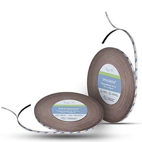 Smagnon magnetband mit 3M Kleber Kleberücken - DAS SMAGNON ORIGINAL - verschiedene Breiten & Längen - Magnetstreifen - Magnetband (2 Meter - Typ A + B, 6mm breite)