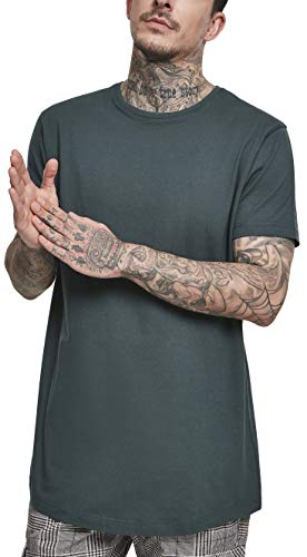 Urban Classics Herren Shaped Long Tee T-Shirt, Grün (Bottlegreen 02245), X-Large (Herstellergröße: XL)