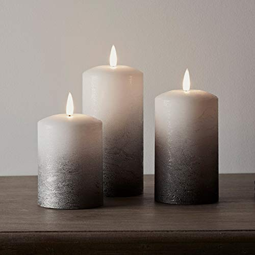 Lights4fun Set of 3 TruGlow Pillar Candles Battery LED Flameless Silver Grey Ombre Real Wax
