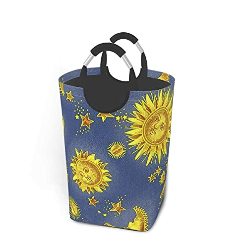 IUBBKI 50L Laundry Hamper Sun Plant Star Foldable Storage Bins Durable and Easy tofor College Dorms, Kids Bedroom,Bathroom,Home,Office