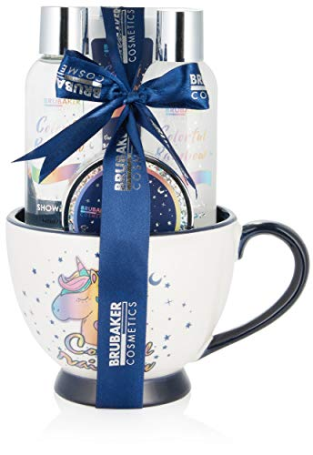 BRUBAKER Cosmetics 5-tlg. Einhorn Bade- und Dusch Set Colorful Rainbow - Geschenkset mit Vanille Lavendel Duft in XXL Kaffeebecher Blau Weiß