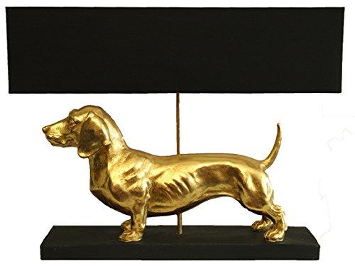Bada Bing Hochwertige Große Tischlampe Dackel 60 x 48,5 Gold Schwarz Lampe Dekolampe Tischleuchte Extravagant Edel