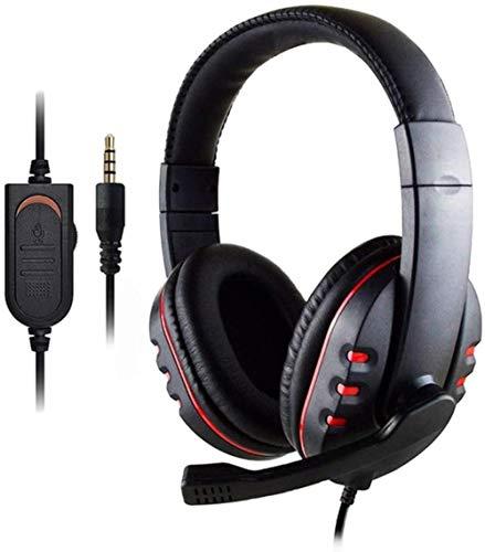 ZSW Auriculares profesionales con cable para juegos con micrófono con cancelación de ruido y volumen estéreo para juegos PS4 PS3 PC