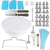 ayaowangluok - Kit de suministros para decoración de tartas, juego de 40, soporte giratorio para tartas, espátulas, boquillas y otros suministros para hornear herramientas