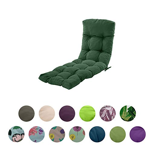 Gardenista Sun Lounger Cushion Pad   Water Resistant and Breathable Easy Clean Fabric   Soft and Comfy   Outdoor Garden Reclining Lounger Cushion   200 x 60 x 7 cm (Green)
