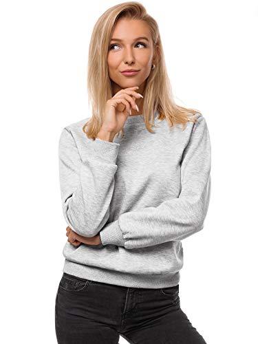 OZONEE Damen Sweatshirt Pullover Langarm Farbvarianten Oversized Langarmshirt Pulli ohne Kapuze Baumwolle Baumwollmischung Classic Basic Rundhals-Ausschnitt Sport JS/W01 GRAU M