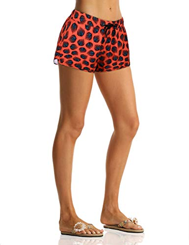 Nonwe Women's Board Shorts Quick Dry Peacock Feather Pattern Summer Beach Surf Trunks Drawstring Red XL