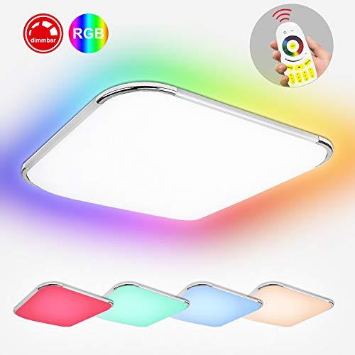 Hengda RGB LED Deckenleuchte Dimmbar, Deckenlampe Spritzwasser geschützt IP44, Kinderzimmerlampe Schlafzimmerlampe Flimmerfrei und Blendfrei, Wohnzimmerlampe (64W RGB Dimmbar)