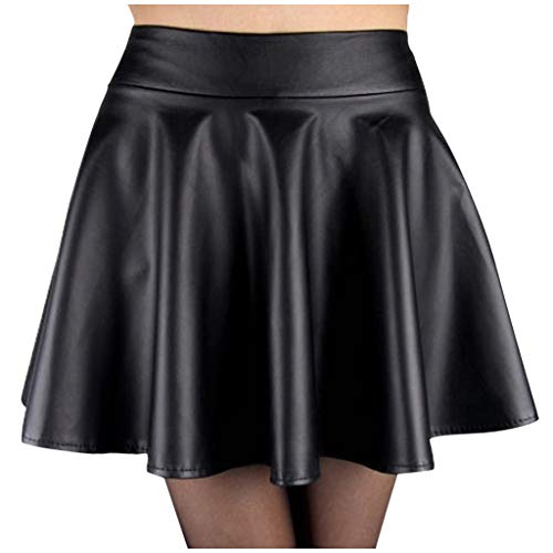 〓COOlCCI〓Leather Skirt for Women,Flare Pleated Faux Leather Skater Skirt Stretchy A-Line Circle Mini Skirt Black