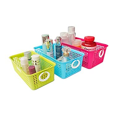 Honla Perforated Plastic Storage Nesting Baskets/Bins Organizer with Little Handles-Set of 3-Hot Pink,Light Blue,Lime Green