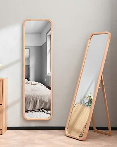 TinyTimes 63'×18' Wooden Full Length Mirror, Floor Mirror with Stand, Beech, Rounded Corner, Rustic Mirror, Free Standing or Wall Mounted, for Bedroom, Living Room, Dressing Room - Natural