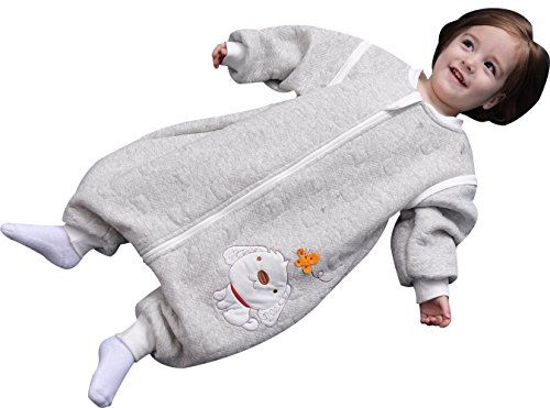 luyusbaby Early Walker Removable Sleeve Baby Wearable Blanket with Feet Autumn&Winter,Grey,Large