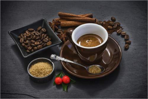 Posterlounge Leinwandbild 90 x 60 cm: Espresso I von Uwe Merkel - fertiges Wandbild, Bild auf Keilrahmen, Fertigbild auf echter Leinwand, Leinwanddruck