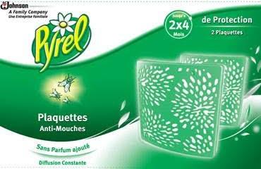 Pyrel Plaquettes anti-mouches sans parfum - 2 plaquettes