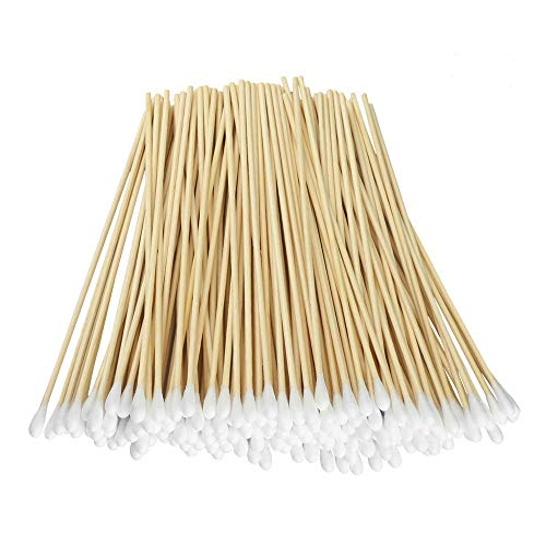 200 Pcs Count 6 Inch Long Cotton Swabs with Wooden Handles Cotton Tipped Applicator, Cleaning With Wood Handle for Oil Makeup Gun Applicators, Eye Ears Eyeshadow Brush and Remover Tool.