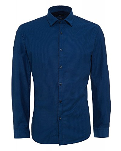 Hugo Boss Herren Hemd Maik Baumwolle Oberhemd Blau S