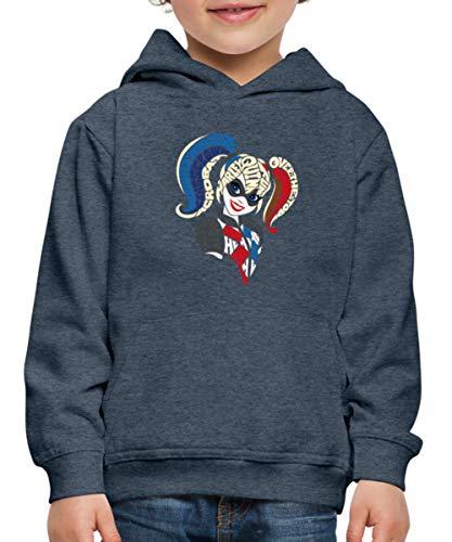 Spreadshirt DC Super Hero Girls Harley Quinn Typographie Pull À Capuche Premium Enfant, 3-4 Ans, Bleu Jeans