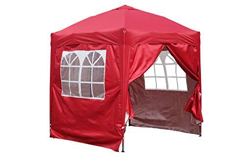 BIRCHTREE Waterproof 2m x 2m Pop Up Gazebo Marquee Garden Awning Party Tent Canopy 210D Oxford Cloth Powder Coated Steel Frame With Anchor Kits Red