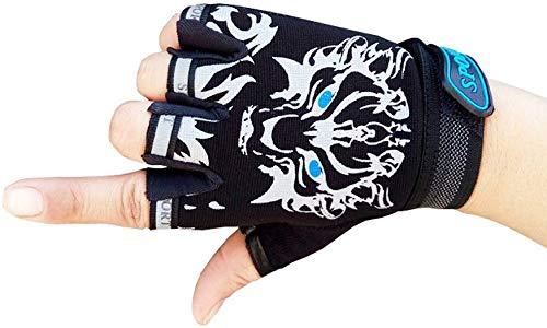 Kinder Fahrradhandschuhe Bike Fingerlose Handschuh für Jungen und Mädchen Radhandschuhe Fingerhandschuh für Sport Mountainbike, Kletterei, Skaten, Rennrad Schwarz