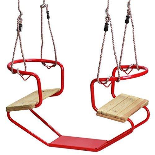 Loggyland Doppelschaukel Schiffsschaukel Schaukel für 2 Kinder (rot)