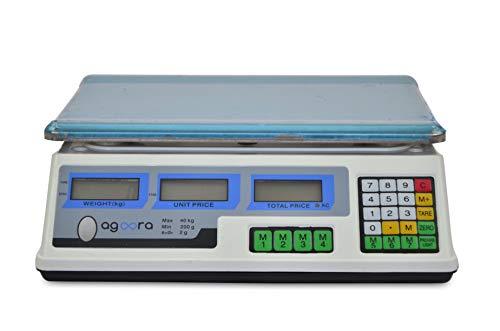 Grandmaster - Bascula Comercial 40kg/2g, Plataforma de Acero Inoxidable 33x24cm, Batería Interna Recargable con 40 Horas de Autonomía, Balanza Digital Profesional Para Hostelería, Frutería