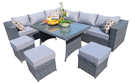 YAKOE Papaver Range Rattan Garden Furniture Corner Sofa and Dining Set with Fitting Cover, 9 Seater, Grey