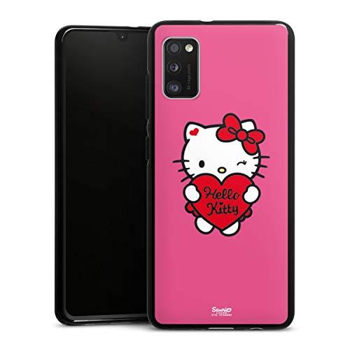 DeinDesign Silikon Hülle kompatibel mit Samsung Galaxy A41 Hülle schwarz Handyhülle Hello Kitty Fanartikel Herz