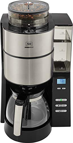 Melitta AromaFresh Grind and Brew, 1021-01, Filter Coffee Machine, Glass Coffee Jug Included, Adjustable Grind Level and Intensity, Black/Stainless Steel