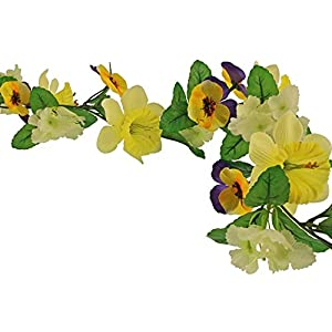 FloristryWarehouse Spring and Summer Faux Silk Flower Garland 6ft Purple Yellow