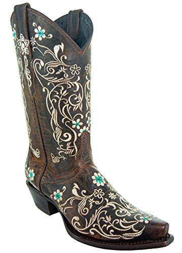 Soto Boots Womenâ€s Dahlia Vintage Flower Embroidery Cowgirl Boots M50042 (Brown,8.5 B(M) US)
