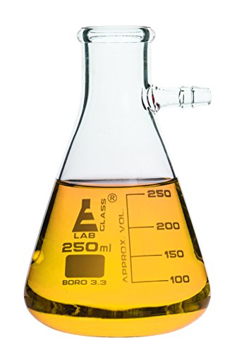 Filtering Flask, 250ml - Borosilicate Glass - Conical Shape, with Integral Side Arm - White Graduations - Eisco Labs