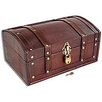 Brynnberg Caja de Madera Flanders 30x20x15cm - Cofre del Tesoro Pirata de Estilo Vintage - Hecha a Mano - Diseño Retro - joyero - con candado