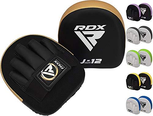 RDX Manoplas de Boxeo Niño Paos Muay Thai MMA Almohadilla Maya Hide Cuero Junior Kick Boxing Entrenamiento Escudo Patada Kids Artes Marciales Gancho y Jab Karate Focus Pad