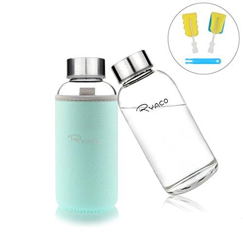 Botella de Agua Cristal 360ml, Ryaco Botella de Agua Reutilizable 12 o