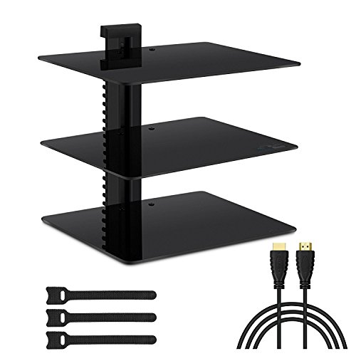 Three Floating DVD DVR Shelf – 3X Wall Mount AV Shelves (15x11 inch) with Strengthened Tempered Glass - for PS3, PS4, Xbox One, Xbox 360, TV Box & Cable Box - Bonus 6
