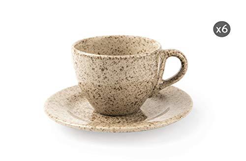 Excelsa Granito Set van 6 koffiekopjes met schotels, keramiek