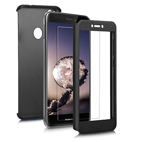 kwmobile Cover for Huawei P8 Lite (2017) - Shockproof Protective Full Body Case with Screen Protector - Metallic Black