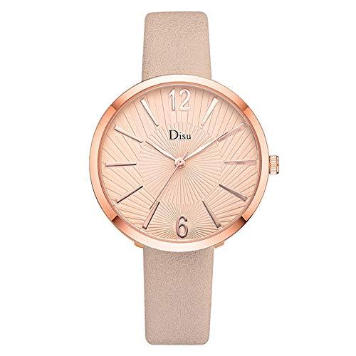 SMBYLL Reloj De Aleación Personalizado Cinturón De Cuero Artificial Reloj De Pulsera De Cuarzo Elegante Femenino (Beige)