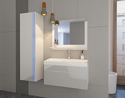 Home Direct Jenny 2 Badezimmer Möbel Badmöbel Komplett (Weiß MAT Base/Weiß HG Front, LED weiß)