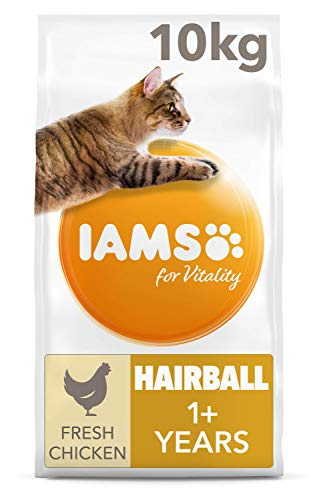 IAMS for Vitality Hairball Reduction Dry Cat Food with Fresh Chicken for...