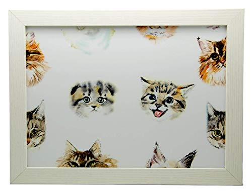 Watercolour Cats Cushioned Lap Tray Laptop Tray for Bed Laptrays for TV Dinners Lap Trays for Eating with Cushion Handmade Wood Frame