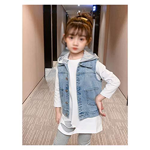 Chaleco al Aire Libre para niños, Chica Moda All-Match Casual Sin Mangas Denim Chaleco para 3-13 años (Color : Button Back Style, tamaño : 150cm)