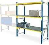 Weitspannregal, 3 Stahlblechebenen, Stecksystem, BxTxH 1580x605x2000 mm, Tragkraft 1000 kg/Ebene