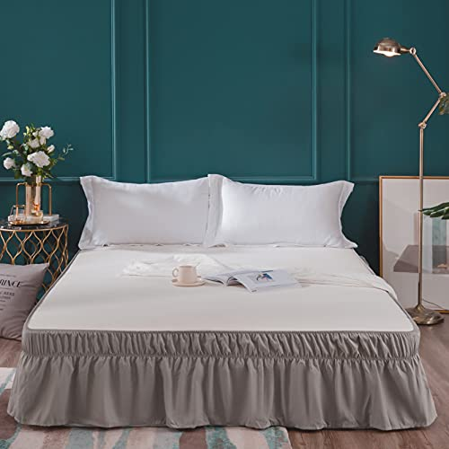 AYASW Wrap Around Bed Skirts 18 Inch Drop with Elastic No Top Cover Dust Ruffles Queen-King Size Taupe