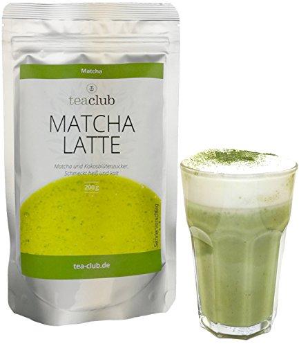 MATCHA LATTE MIX mit 20% Matcha Tee Pulver und Kokosblütenzucker 200g, Vegan Glutenfrei, Grüntee-Pulver mit Koskosblütenzucker, TeaClub