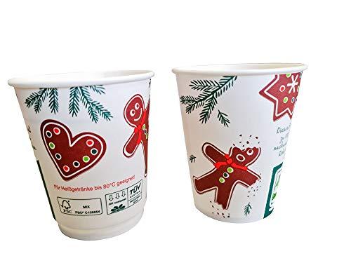 """75 Bio Glühweinbecher Einweg kompostierbar Glühwein to go Becher""""Lebkuchenmann"""" einwandig FSC+PLA alkoholbeständig 0,2l 200ml Eichstrich/Füllstrich für Weihnachten & Weihnachtsmarkt - Made in Germany"""