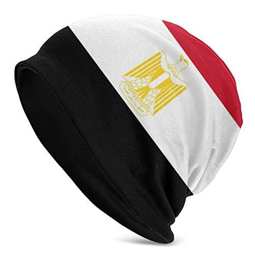 AEMAPE Egipto Bandera Bandera Beanie Unisex Caliente con Puños Llanura Slouchy Skull Gorro De Punto Diario Negro