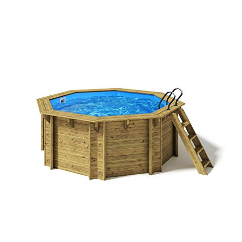 Paradies Pool® Holzpool Kalea Platin Komplettset inkl. Filteranlage für 50er Verrohrung + Filterglas, Scheinwerfer LED weiß, Folie blau 0,8mm Stärke, Achteck-Pool, 354 x 118 (Ø x H), Menge: 1 Stück