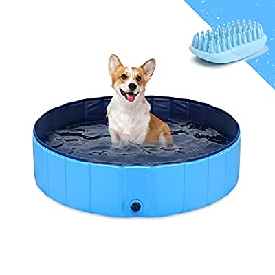 GoStock Dog Pool for Dogs, Folding Kiddie Pool, Pet Pools for Puppy Dogs Collapsible Pool for Dogs 32 x 8 inch